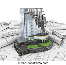 abstract 3d of building development