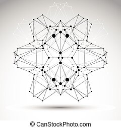Abstract 3D origami polygonal wireframe object, vector geometric