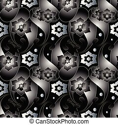 Abstract 3d paisley seamless pattern. Dark black vector floral b