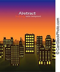 Abstract 3D Paper City night background