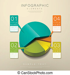 abstract 3d pie chart infographics - realistic vector...
