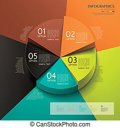 abstract 3d pie chart infographics