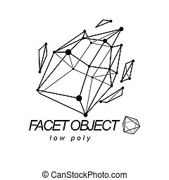 Abstract 3d polygonal wireframe object, vector geometric low poly design element. Technology corporate logo.