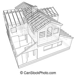 Abstract 3D render of building wireframe structure. Construction graphic. Tracing illustration of 3d
