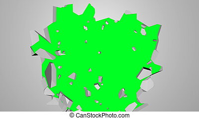 Abstract 3d render of cracked wall, destruction, explosion broken white wall with hole, computer generated backdrop