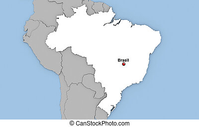 Brasil - Abstract 3d render of map of Brasil highlighted in...