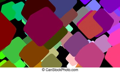 Abstract 3d render, rotating cubes, modern animation, geometric background, motion design