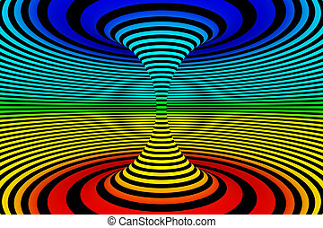 Abstract 3D Rendered Graphic Design. Rainbow Colored Illusion of Torsion Rotation Movement.