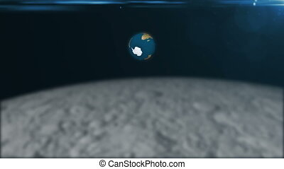 Abstract 3d rendering background with The rotation of the earth and flare. View from the moon