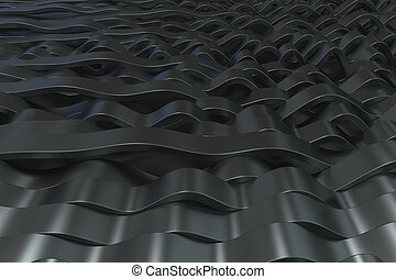 Abstract 3D rendering of black sine waves. Bended stripes...