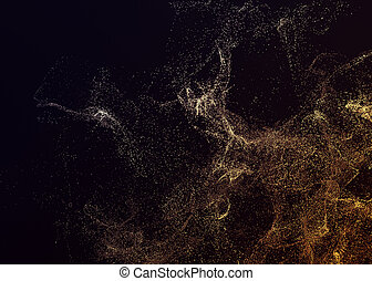 Abstract 3D Rendering of Flying Particles. - Abstract 3d...