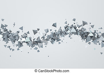 Abstract 3D Rendering of Flying Triangles. - Abstract 3d...