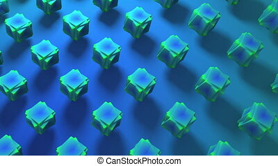 Abstract 3d rendering of geometric blue cubes shapes background. Computer generated loop animation. Modern background for poster, cover, branding, banner 4k UHD. 3D illustration. Seamless Loop
