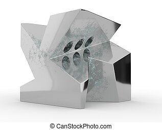 Abstract 3d rendering of geometric shape. Surreal composition. 3d illustration