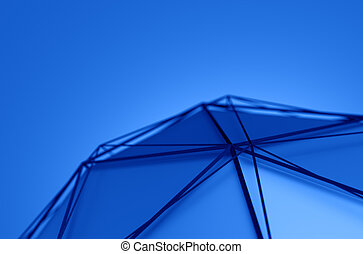 Abstract 3D Rendering of Low Poly Blue Shape.