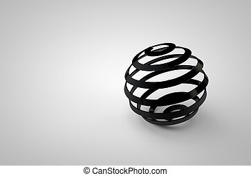 Abstract 3d rendering of metal chrome line sphere