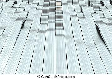 Abstract 3D rendering of metal sine waves. Bended stripes...