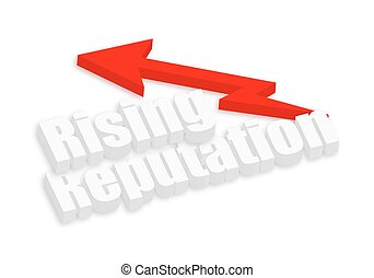 Abstract 3d Rising Reputation Text with Arrow Vector Background