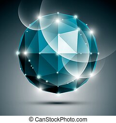 Abstract 3D sapphire gleam sphere with sparkles, turquoise precious stone, eps10.