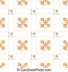Dashed squares with orange flowers pattern