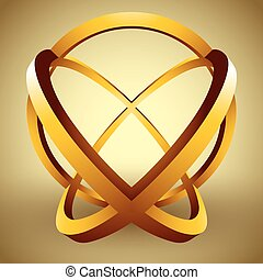 Abstract 3D sphere made of rings, creative vector abstract icon.