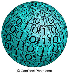Abstract 3D sphere made ??up of binary code on a white background.