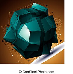 Abstract 3D structure polygonal network object, bright deformed figure.
