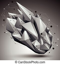 Abstract 3D structure polygonal network object, grayscale deformed figure.