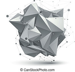 Abstract 3D structure polygonal vector network object, grayscale