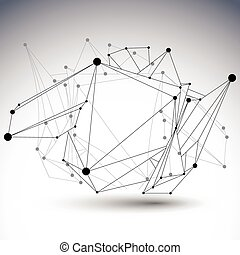 Abstract 3D structure polygonal vector network object, black...
