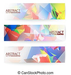 Abstract 3d triangular banners set.