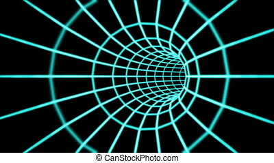Abstract 3d tunnel from a grid. Loop.