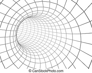 abstract, 3d, tunnel, van, een, rooster