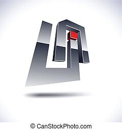 Abstract 3d UA icon. - Abstract modern 3d UA  logo. Vector.