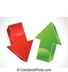 abstract 3d up and down arrows  vector illustration