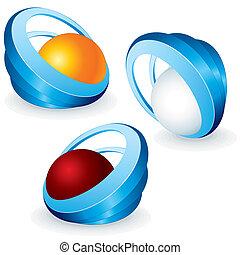 3D Vector Symbols. Conceptual Vector Icons.