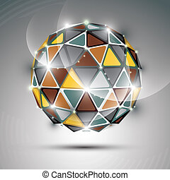 Abstract 3D vivid gala sphere with gemstone effect, gold and metal twinkle orb created from triangles, eps10.