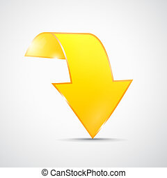 Abstract 3d Yellow Arrow Icon