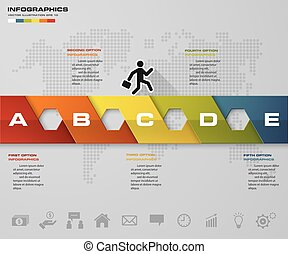 Abstract 5 steps infographics elements.Vector illustration....