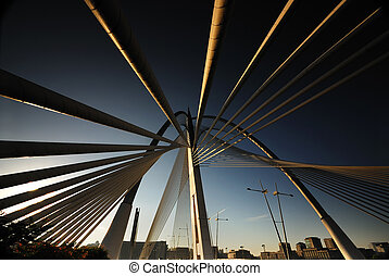 abstract, aanzicht, van, suspention, brug, op, putrajaya