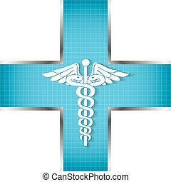 abstract, achtergrond, medisch, symbool., caduceus