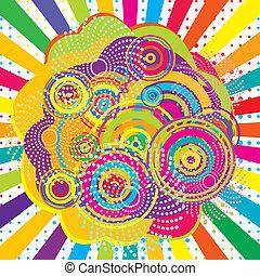abstract, achtergrond, met, gekleurde, zonnestraal, en, cirkels