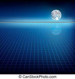 abstract, achtergrond, met, maan