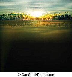 abstract, achtergrond, met, silhouette, van, new york