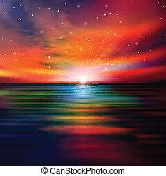 abstract, achtergrond, met, zee, ondergaande zon