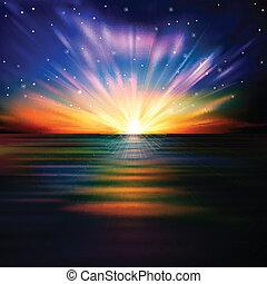 abstract, achtergrond, met, zee, zonopkomst, en, sterretjes