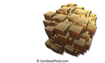 abstract, achtergrond, van, 3d, goud, blokjes, vrijstaand, op wit