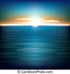 abstract, achtergrond, zee, zonopkomst