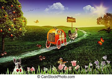 abstract, achtergronden, verhaal, wonderland., ontwerp,...