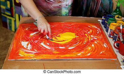 Abstract acrylic intuitive painting process. Woman artist drawing picture
